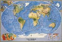 Mapamundi fisico y suelos oceanicos National Geographic 109x76 cm - Mapamundi Fisico con representación de los fondos oceánicos a Escala 1:38.931.000