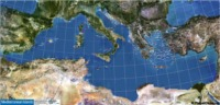 Mediterranean Islands Satellite Map 146x70 cm
