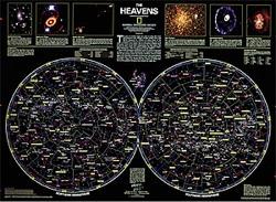 Planisferio Celeste National Geographic 79x59 cm - Mapa celeste del hemisferios norte y sur.
