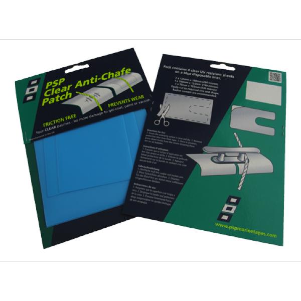 Kit de 4 parches adhesivos anti-rozaduras PSP - Contiene 4 parches adhesivos de PTFE, anti-rozaduras, para proteger el gelcoat, los barnices o las pinturas de los roces con lo cabos.