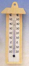 Termómetro Exterior - Termómetro atmosférico para exterior. Varilla de alcohol y cuerpo de  plástico color marfil..   Escala: -20+50ºC..   Dimensiones: 200 x 80 mm.