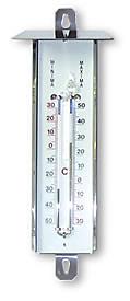 Termómetro Exterior Máxima / Mínima - Inox - Indica la temperatura actual así como la máxima y mínima que ha habido desde el último borrado.