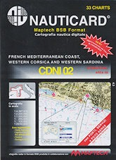 Cartografía digital Nauticard CDNI02 - Cartas digitales de la costa Francesa, Liguria, norte de Toscana con Elba incluida, Oeste de Córcega y el oeste de Cerdeña, y el software para PC OFFSHORE NAVIGATOR LITE.