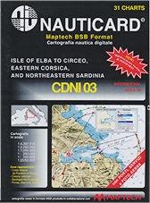 Cartografía digital Nauticard CDNI03 - Cartas digitales de la costa Italiana desde Elba comprendida Gaeta, con la isla de Ponza, este de Córcega y la parte nord-oriental de Cerdeña , y el software para PC OFFSHORE NAVIGATOR LITE.