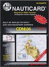 Cartografía digital Nauticard CDNI04 - Cartas digitales de la costa Italiana desde el sur de Gaeta con Calabria Tirrenica, Sicilia, y el sur oeste de Cerdeña, y el software para PC OFFSHORE NAVIGATOR LITE.