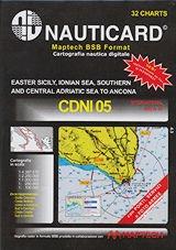 Cartografía digital Nauticard CDNI05 - Cartas digitales de la costa italiana desde el estrecho de Mesina a la costa griega, Albania y Croacia, y el software para PC OFFSHORE NAVIGATOR LITE.