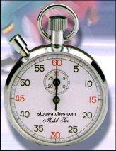 Cronógrafo Mecánico - Cronometro Mecanico 1/5 30min.   Cronógrafo mecánico contador de bolsillo con divisiones de 1/5 de segundo, botones de puesta en marcha, parada y retroceso..   Diámetro: 55 mm