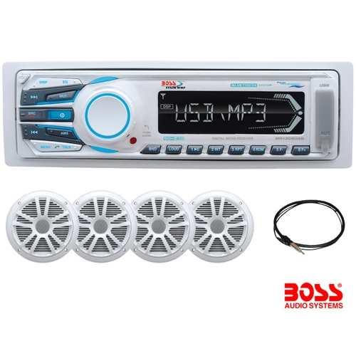 Pack Radio Marina Boss MCK1308WB.64 - El Pack de audio Boss incluye:.   - 1 equipo MR1308UAB AM/FM.   - 4 altavoces MR6W.   - 1 antena MRAN10.