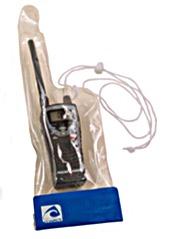 Bolsa estanca para radio VHF - Bolsa estanca de material plástico translucido soldado, diseñada para proteger la radio VHF con sistema de cierre tipo velcro y cordón de sujeción..   Medidas: 13x23x40 cm