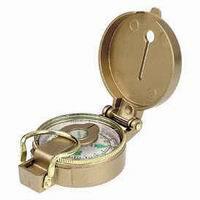 Brújula lensática - Brujula lensática de liquido con cuerpo de aluminio dorado y esfera flotante luminosa.   Rosa de 50 mm