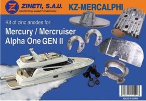 Zineti Kit Anodos  Mercury-Mercruiser Alpha One GEN II - Kit de montaje completo para la cola MERCURY/MERCRUISER ALPHA ONE Generación II (de 1991 hasta la actualidad).   Peso: 2,450 kg