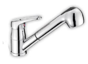 Grifo monomando con ducha y tubo